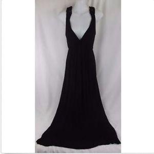 A'Gaci Black Empire Halter Maxi Dress Small